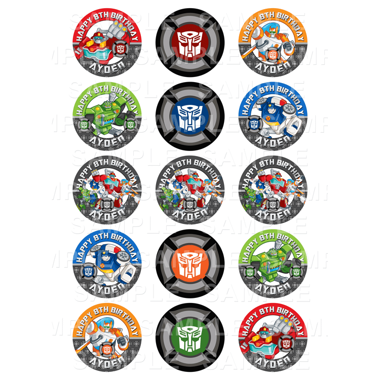 Rescue Bots Edible Cupcake Toppers Personalised