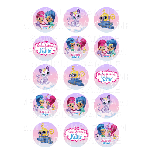 Shimmer and Shine Edible Cupcake Toppers - Shimmer and Shine Edible Image Cupcake