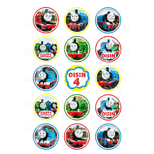 Thomas The Tank Engine and Friends Edible Cupcake Toppers - Thomas the Tank Engine Edible Image Cupcake Toppers