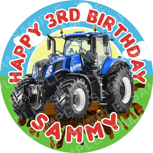 Tractor Edible Cake Topper - Tractor Edible Image - Round