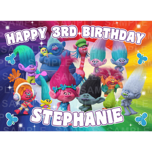 Trolls Edible Cake Topper - Trolls Edible Image - Rectangle (A4, A3, Quarter Sheet, Half Sheet)