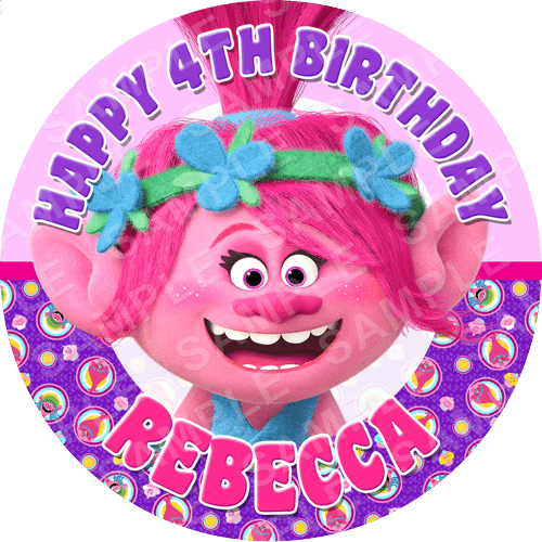 Poppy Trolls Edible Cake Topper - Poppy Trolls Edible Image - Round