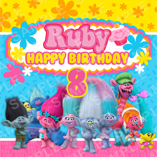 Trolls Edible Cake Topper - Trolls Edible Image - Square