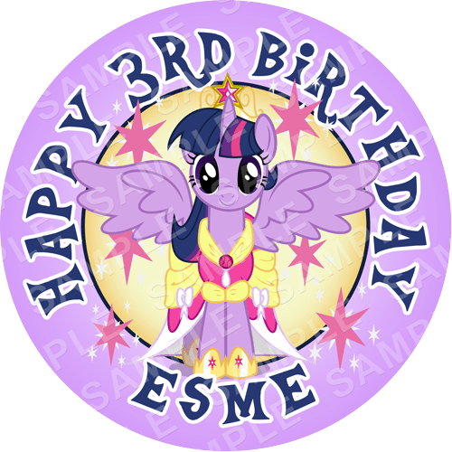 Twilight Sparkle - My Little Pony Edible Cake Topper - My Little Pony Edible Image - Round