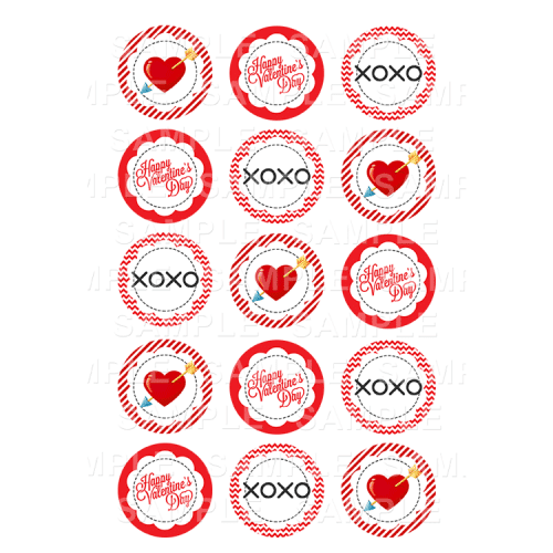 Valentines Edible Cupcake Toppers - Valentines Day Edible Image Cupcake Toppers