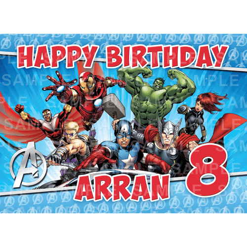 Avengers Edible Cake Topper - Avengers Edible Image - Rectangle (A4, A3, Quarter Sheet, Half Sheet)