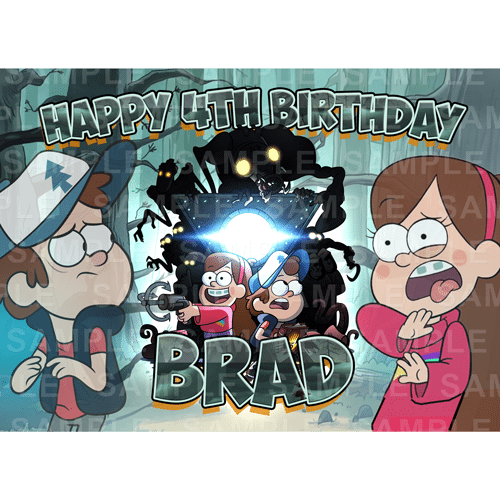 Gravity Falls Edible Cake Topper - Gravity Falls Edible Image - Rectangle (A4, A3, Quarter Sheet, Half Sheet)