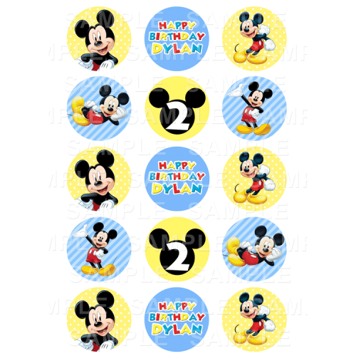 Mickey Mouse Edible Cupcake Toppers - Mickey Mouse Edible Image Cupcake Toppers