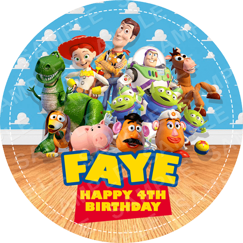 Toy Story Edible Cake Topper - Toy Story Edible Image - Round