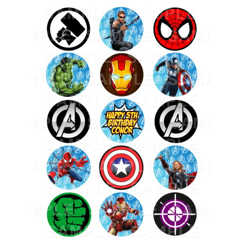 Avengers Edible Cupcake Toppers - Avengers Edible Image Cupcake Toppers