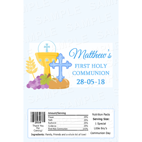 Communion Chocolate Bar Wrappers - Personalised Chocolate Bars