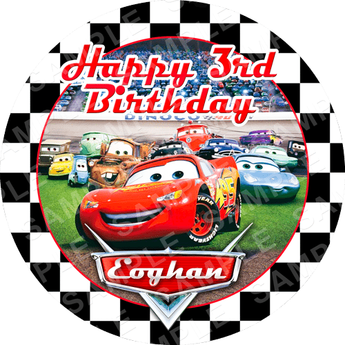 Cars Edible Cake Topper - Lightening McQueen Edible Image - Round