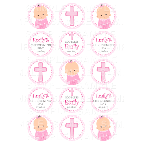 Christening Edible Cupcake Toppers - Christening Edible Image Cupcake Toppers