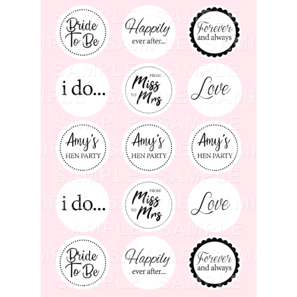 Hen Party Edible Cupcake Toppers - Hen Party Edible Image Cupcake Toppers