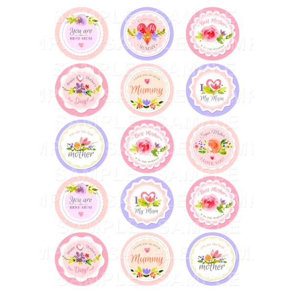 mothers day edible cupcake toppers personalised printed edible image. Black Bedroom Furniture Sets. Home Design Ideas