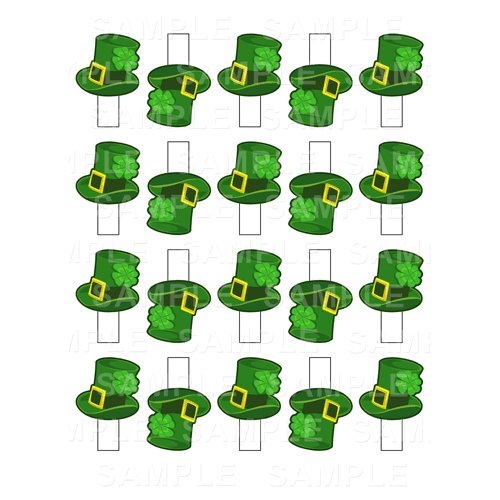 20 x Leprechaun Hats - St Patricks Day Edible Cupcake Toppers - Paddy's Day Edible Image Cupcake Toppers