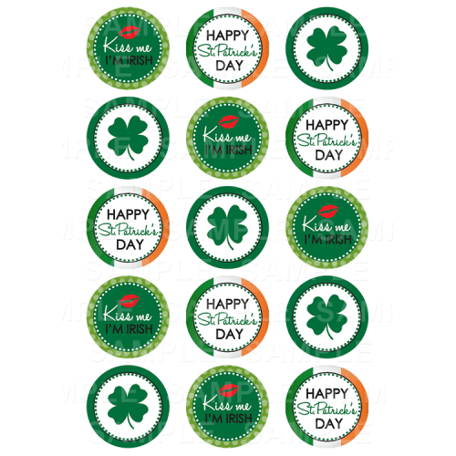 St Patricks Day Edible Cupcake Toppers - Paddy's Day Edible Image Cupcake Toppers