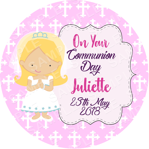 Communion Edible Cake Topper - Communion Edible Image - Round