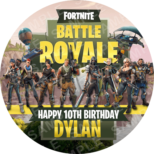 Fortnite Edible Cake Topper - Fortnite Battle Royale Edible Image - Round