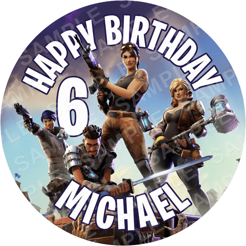 Fortnite Edible Cake Topper - Fortnite Edible Image - Round
