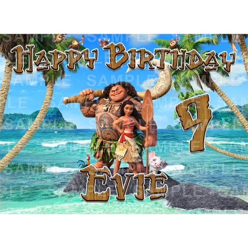 Moana Edible Cake Topper - Moana Edible Image - Rectangle (A4, A3, Quarter Sheet, Half Sheet)