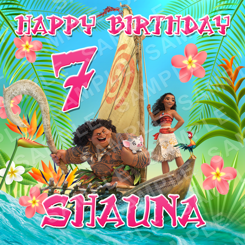 Moana Edible Cake Topper - Moana Edible Image - Square