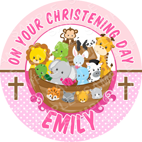 Christening Edible Cake Topper - Noah's Ark Edible Image - Round
