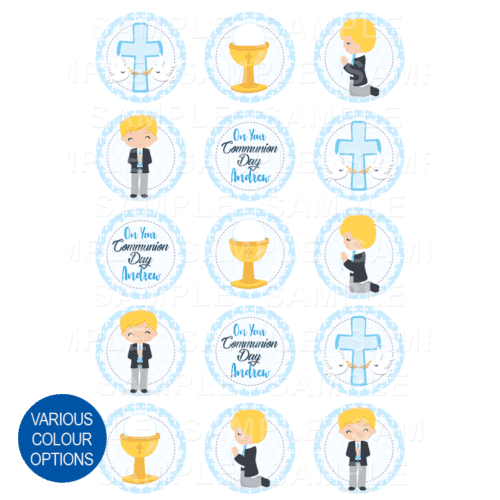 "15 x 2"" - Communion Edible Cupcake Toppers - First Holy Communion Edible Image Cupcake Toppers"