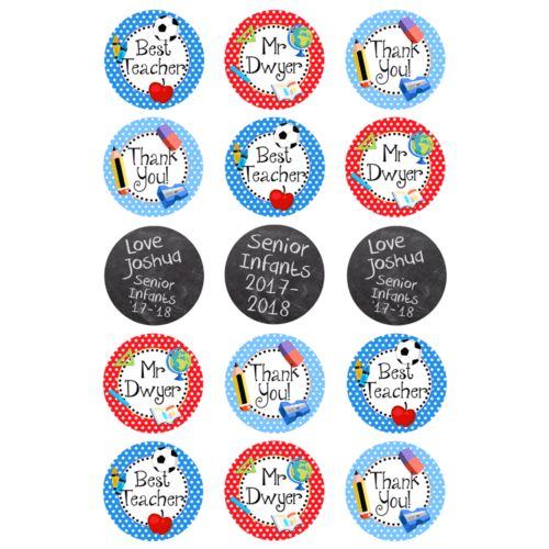 "15 x 2"" - Thank You Teacher Edible Cupcake Toppers - Best Teacher Edible Image Cupcake Toppers"