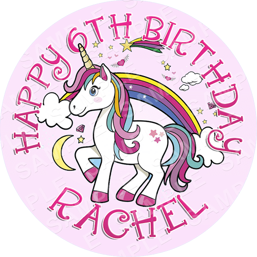 Unicorn Edible Cake Topper - Unicorn Edible Image - Round