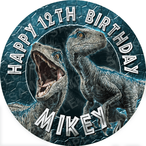 Jurrassic World Edible Cake Topper - Blue Raptor Edible Image - Round
