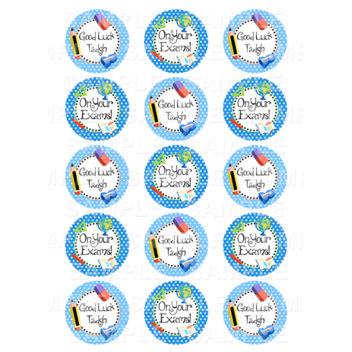 "15 x 2"" - Good Luck Exam Edible Cupcake Toppers - Leaving Cert Edible Image Cupcake Toppers"