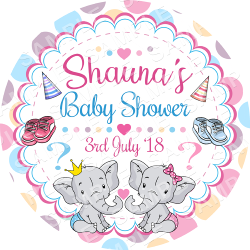 Baby Shower Edible Cake Topper - Baby Shower - Gender Reveal Edible Image - Round