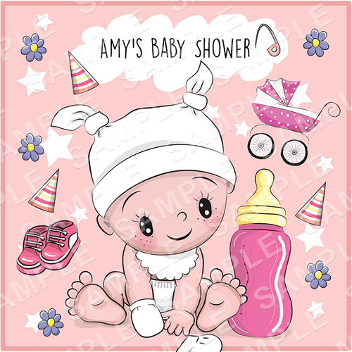 Baby Shower Edible Cake Topper - Baby Girl Edible Image - Square
