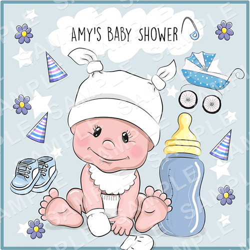 Baby Shower Edible Cake Topper - Baby Boy Edible Image - Square