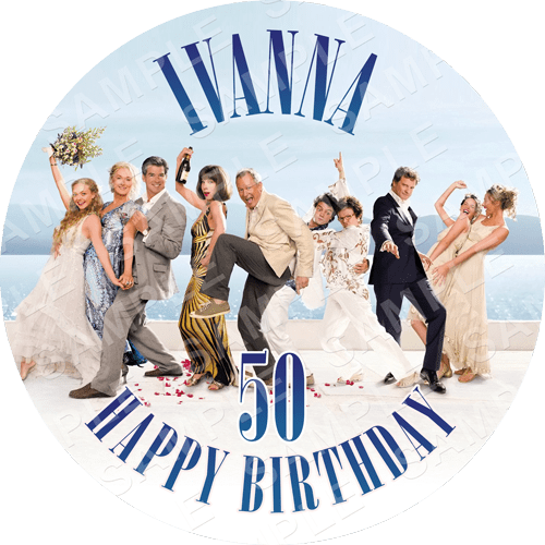 Mamma Mia Edible Cake Topper - Mamma Mia - Here We Go Again Edible Image - Round