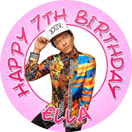 Bruno Mars Edible Cake Topper - Bruno Mars Edible Image - Round