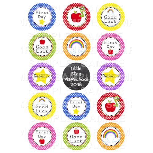 "15 x 2"" - First Day Of Playschool Edible Cupcake Toppers - Montersori Edible Image Cupcake Toppers"