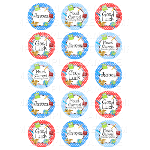 "15 x 2"" - First Day Of School Edible Cupcake Toppers - Secondary School Edible Image Cupcake Toppers"