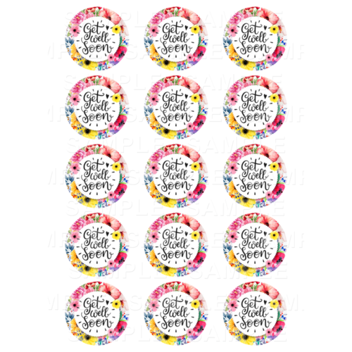 "15 x 2"" - Get Well Edible Cupcake Toppers - Get Well Soon Edible Image Cupcake Toppers"