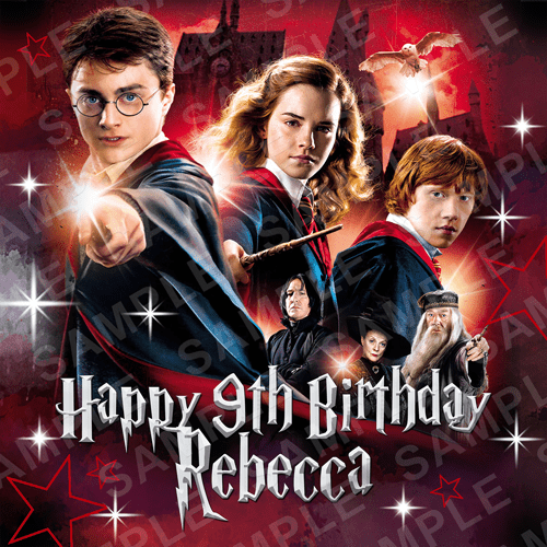 Harry Potter Cake Topper - Ron Harry Hermione Edible Image - Square