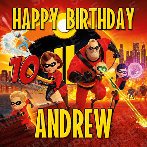 The Incredibles Cake Topper - Incredibles Edible Image - Square