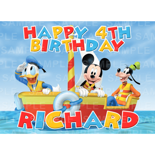 Mickey Mouse Edible Cake Topper - Mickey Mouse Clubhouse Edible Image - Rectangle (A4, A3, Quarter Sheet, Half Sheet)