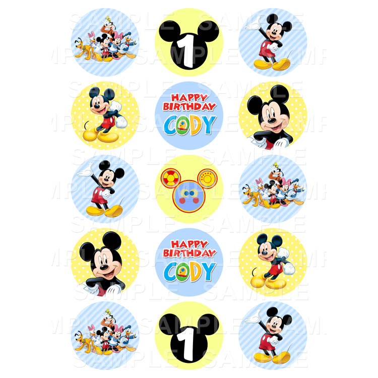 Mickey Mouse - Edible Cupcake Toppers - Personalised ...Mickey Mouse Cupcake Toppers