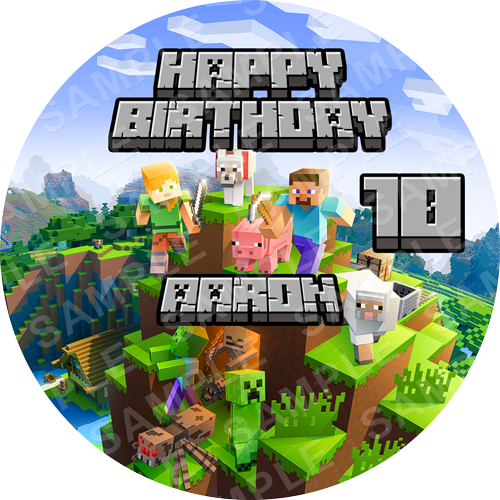 Minecraft Edible Cake Topper - Minecraft Edible Image - Round