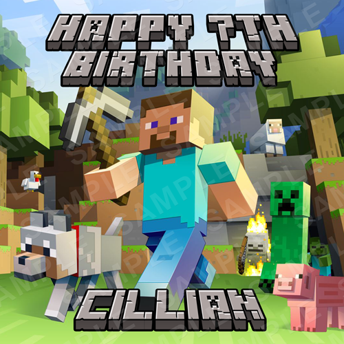 Minecraft Cake Topper - Minecraft Edible Image - Square