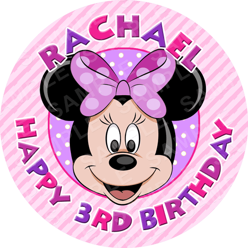 Minnie Edible Cake Topper - Minnie Mouse Edible Image - Round