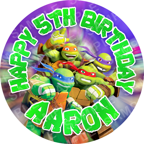 Teenage Mutant Turtles Edible Cake Topper - TMNT Teenage Mutant Ninja Turtles Edible Image - Round