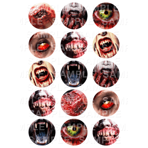 "15 x 2"" - Horror Gore Edible Cupcake Toppers - Halloween Zombie Werewolf Vampire Adult Edible Image Cupcake"