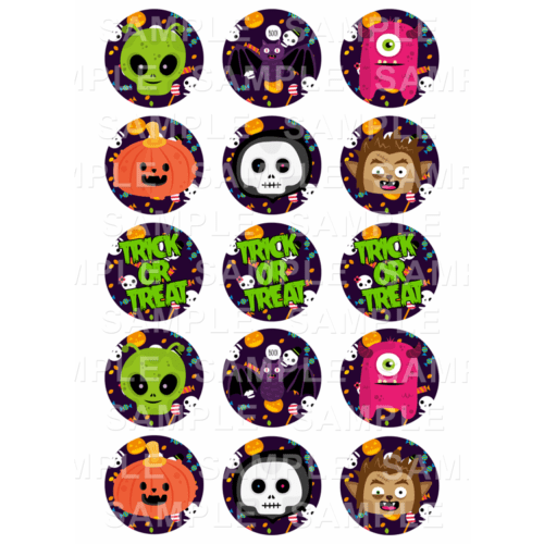 "15 x 2"" - Halloween Edible Cupcake Toppers - Halloween Party Edible Image Cupcake"